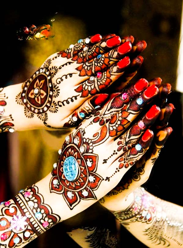 Colorful flower design of mehndi