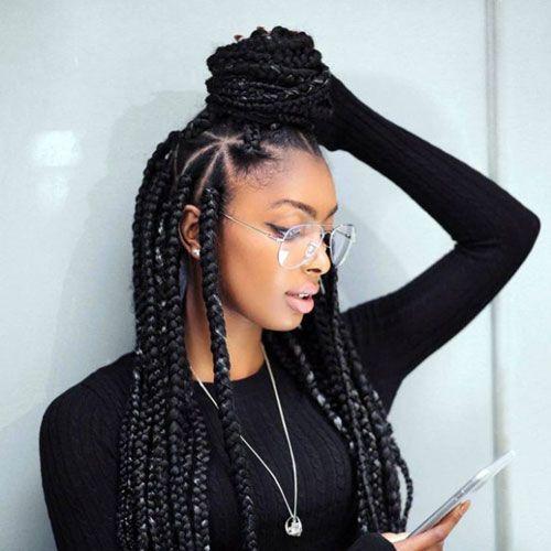 Knotless box braids with beads